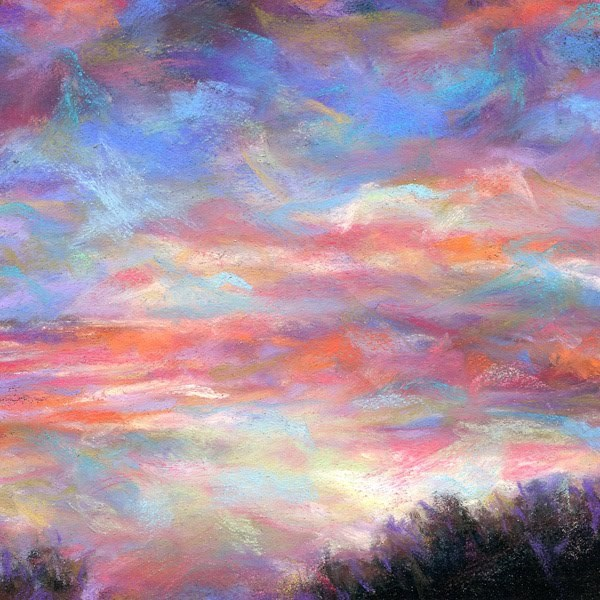 """WISPY EVENING SUNSET - 4 1/2 x 4 1/2 sky pastel by Susan Roden"" original fine art by Susan Roden"