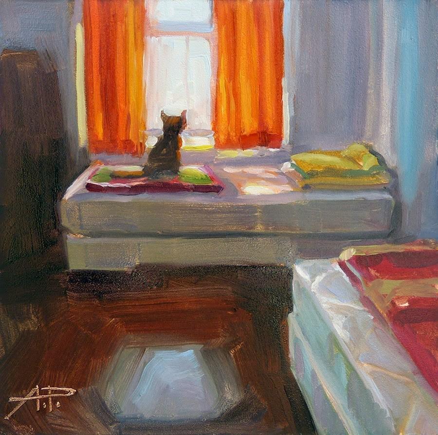 """""""Cat on a Mission (at San Antonio de Padua that is)"""" original fine art by Anette Power"""