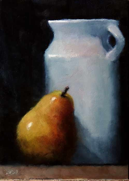 """""""Pitcher and Pear"""" original fine art by Bob Kimball"""