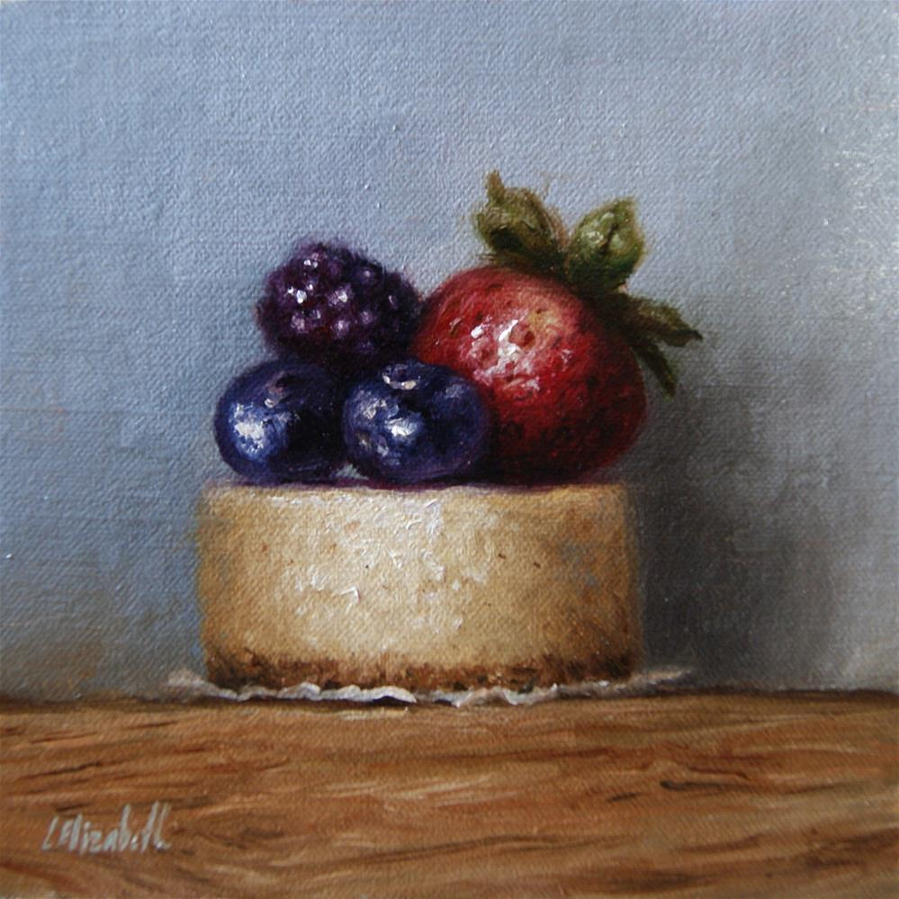 """Berry Cheese Cake,  Oil on 6x6 Linen Panel"" original fine art by Carolina Elizabeth"