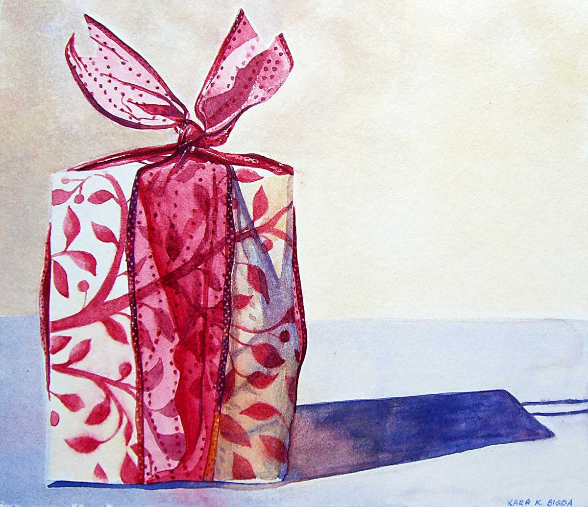 """Christmas Package"" original fine art by Kara K. Bigda"