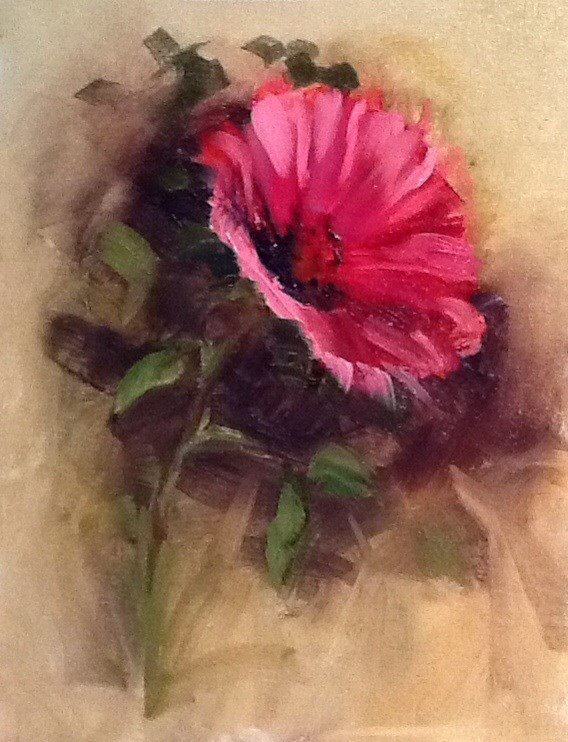 """Pink Flower (framed in dark wood)"" original fine art by Nancy Levinson"