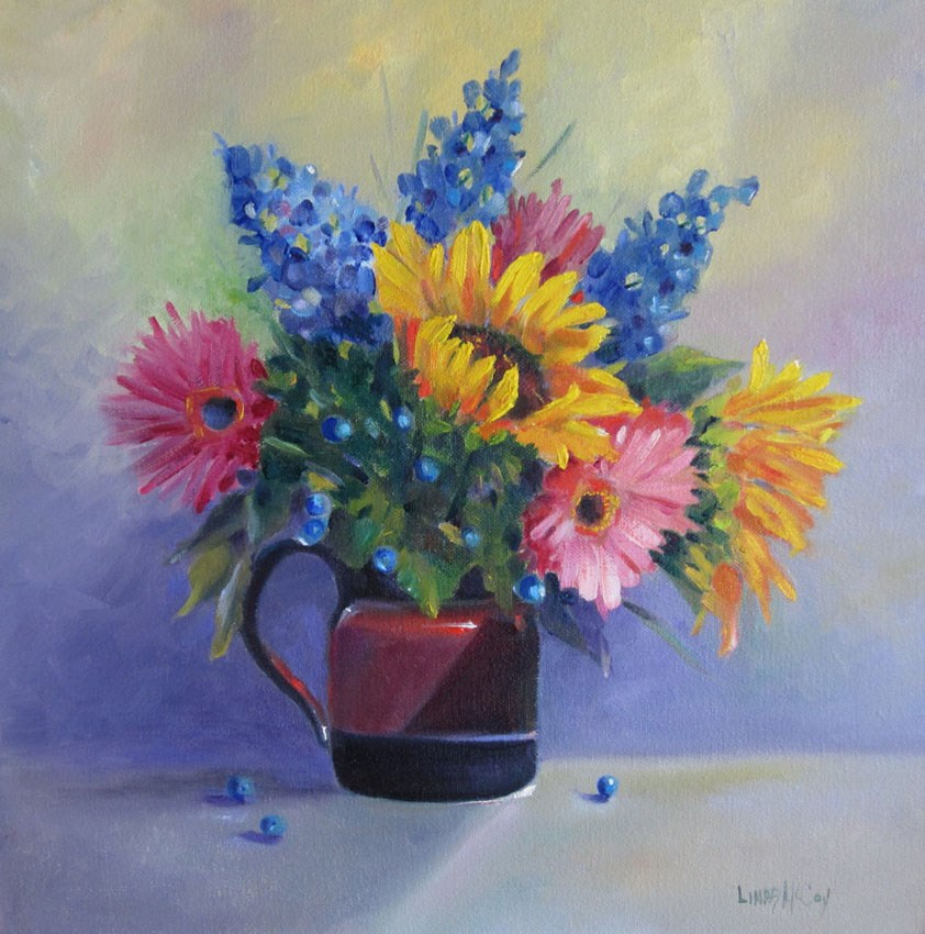 """Sunflower Symphony, painting by Linda McCoy"" original fine art by Linda McCoy"