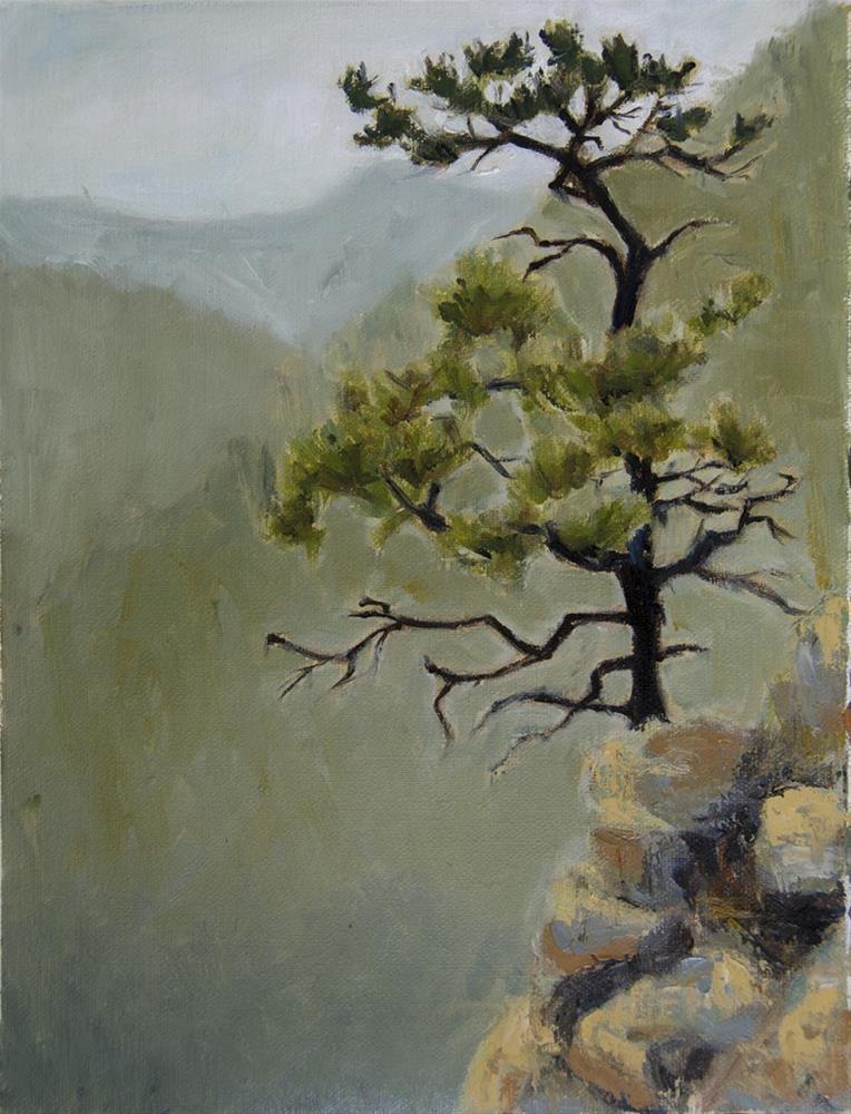"""""""Lone Tree Mountainscape"""" original fine art by Rachel Steely"""