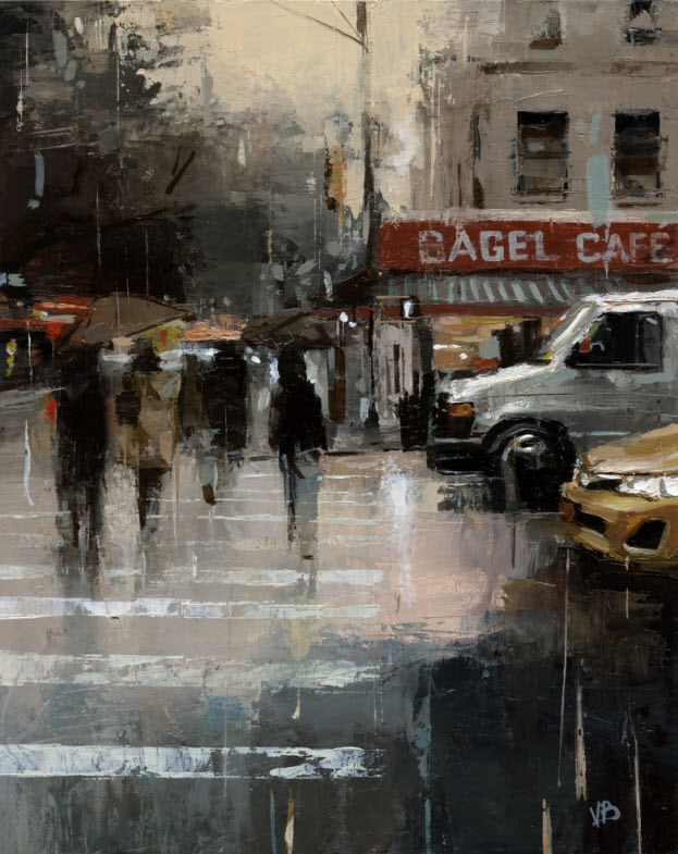 """Bagel Cafe"" original fine art by Victor Bauer"