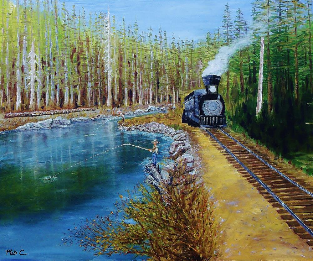"""Fly Fishing the Truckee"" original fine art by Mike Caitham"