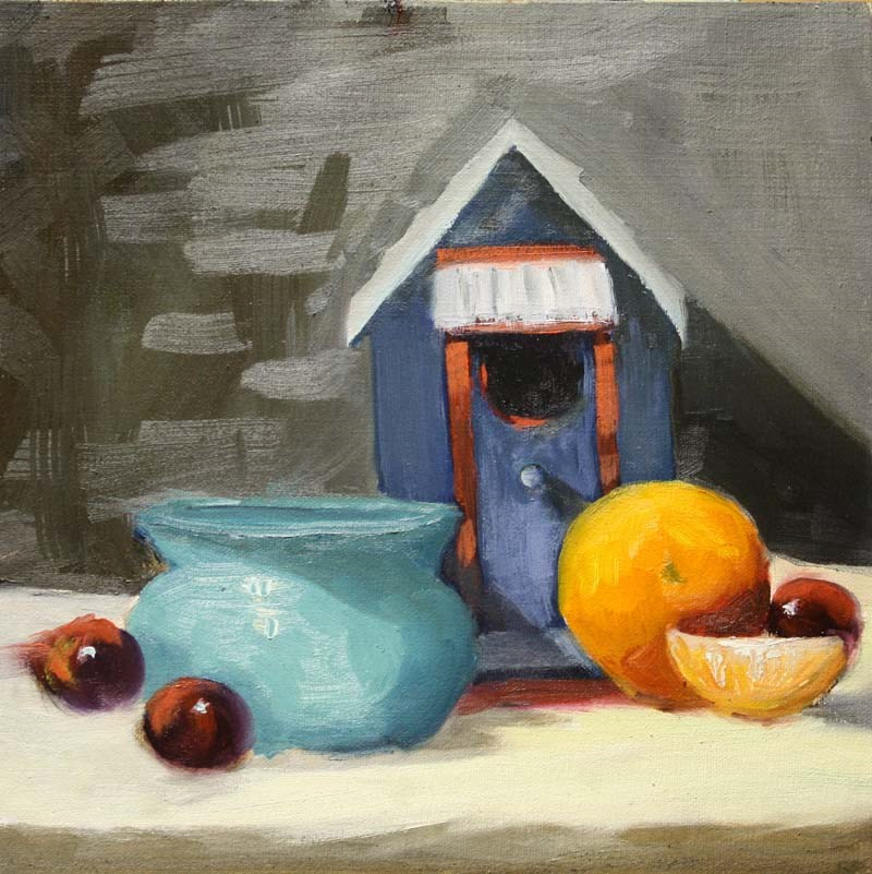 """Bird House and Fruit"" original fine art by Jane Frederick"