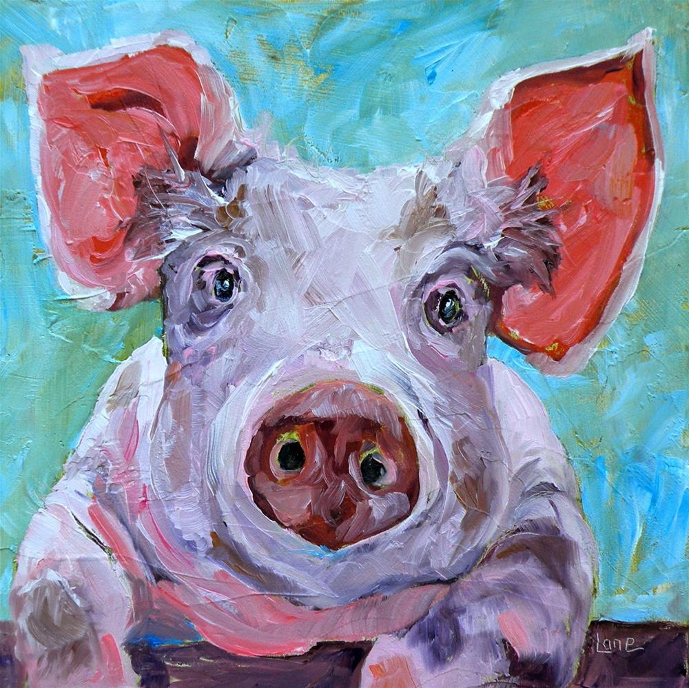 """PETE THE PIG 11/100 © SAUNDRA LANE GALLOWAY  VOTE FOR YOUR FAVORITE IN 1-10!!"" original fine art by Saundra Lane Galloway"