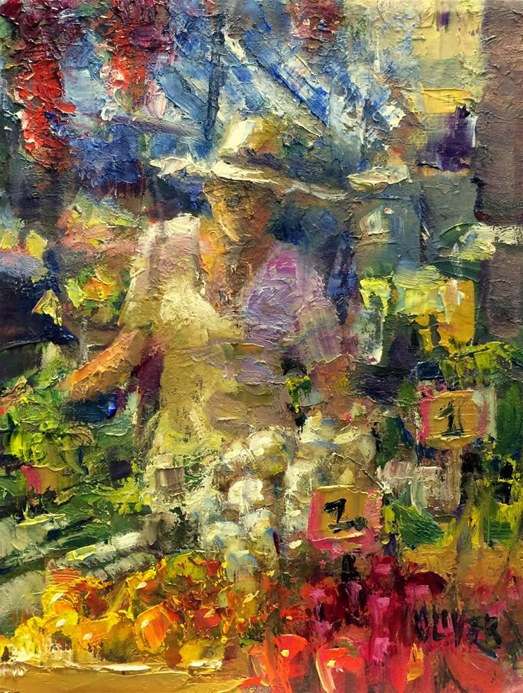 """Farmers Market   - day 9"" original fine art by Julie Ford Oliver"