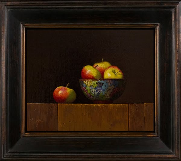 """Still Life with Lady Apples in a Cloisonné Butterfly Bowl"" original fine art by Abbey Ryan"