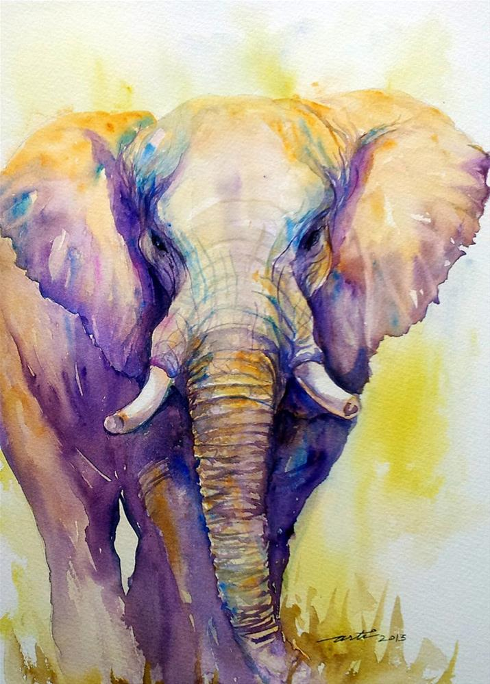 """Elephant in Purple"" original fine art by Arti Chauhan"
