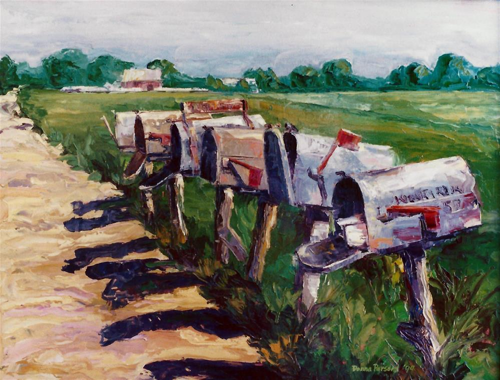 """Mail boxes"" original fine art by Donna Whatcott Parsons"