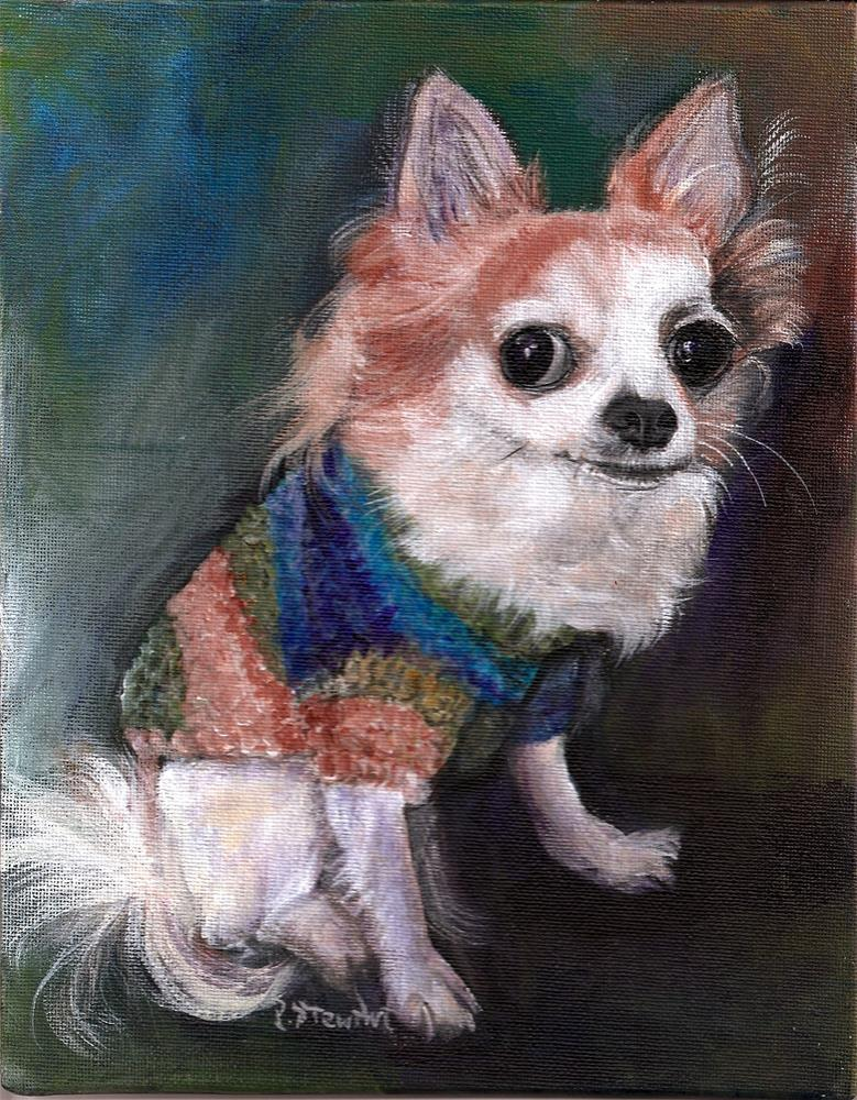 """""""8x10 Long-Haired Chihuahua Poppy Sweater Pet Portrait SFA Penny StewArt"""" original fine art by Penny Lee StewArt"""