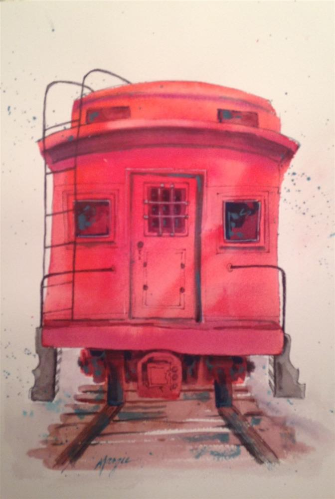 """The Red Caboose"" original fine art by Margie Whittington"