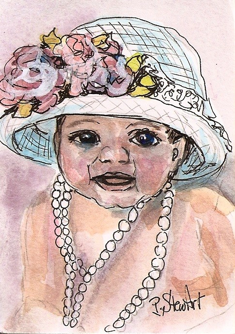 """ACEO Baby in a Bonnet Easter Hat and Pearls Watercolor Pen Ink Penny StewArt"" original fine art by Penny Lee StewArt"
