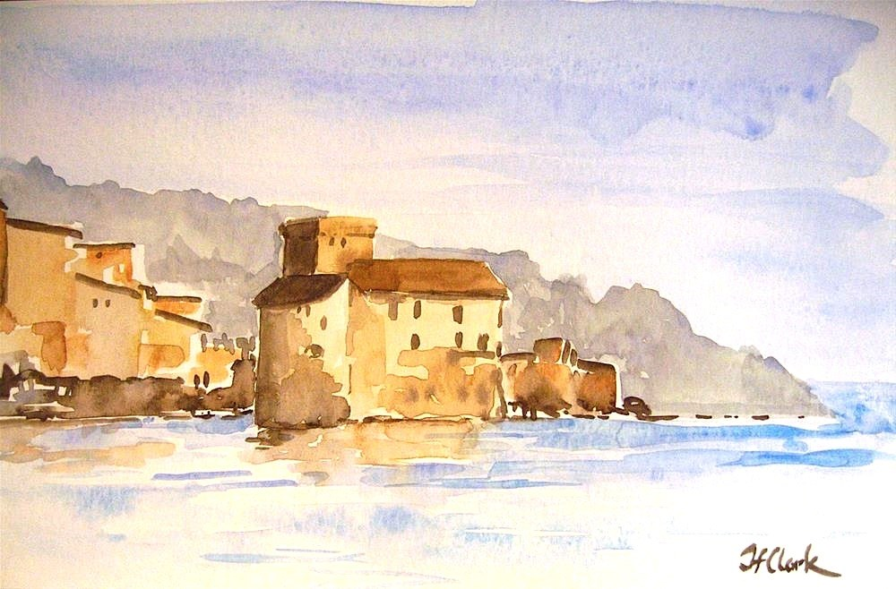 """Castle in Rapallo, Italy"" original fine art by Judith Freeman Clark"