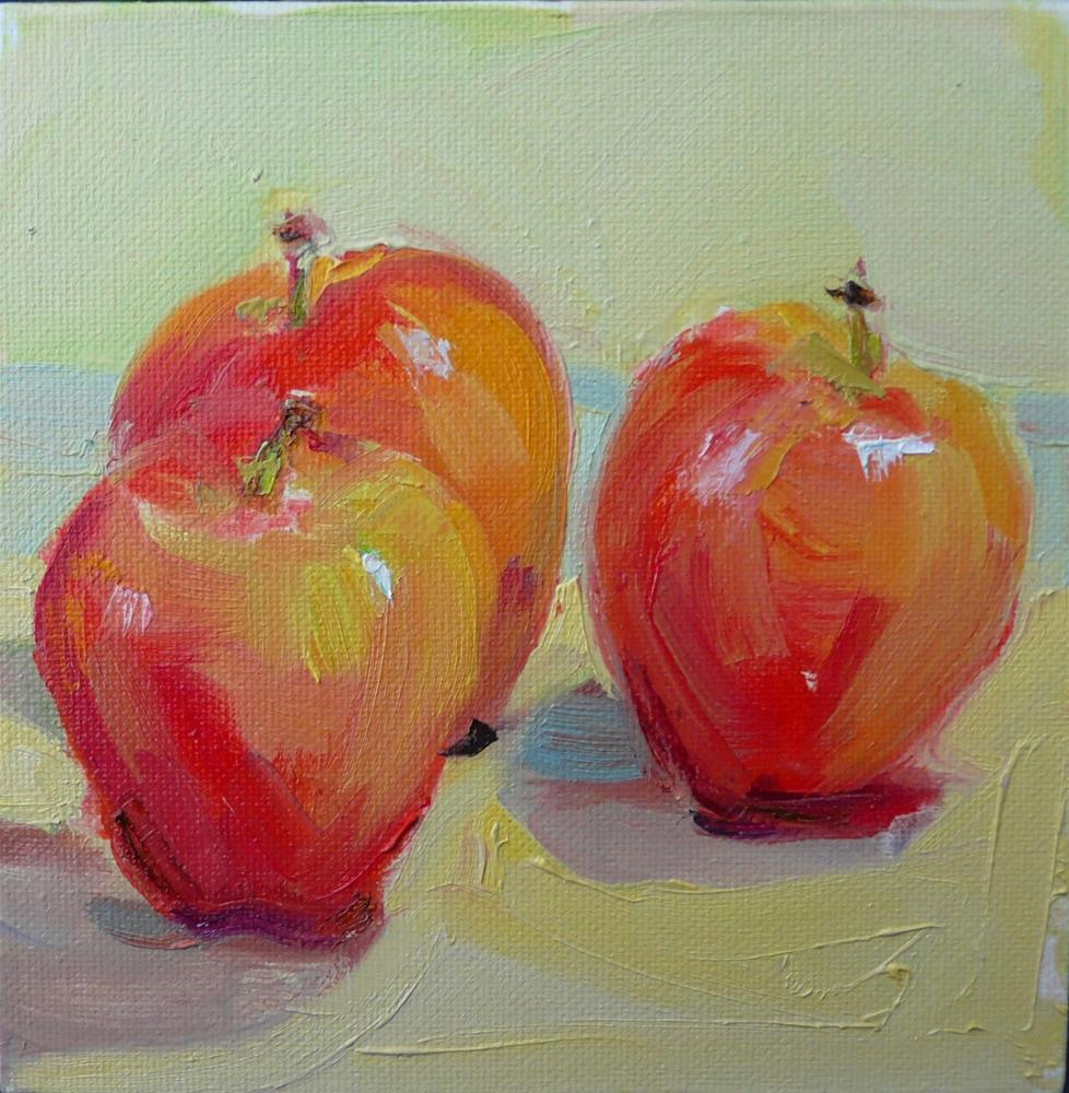 """Apples in December,still life,oil on canvas,6x6,price$200"" original fine art by Joy Olney"