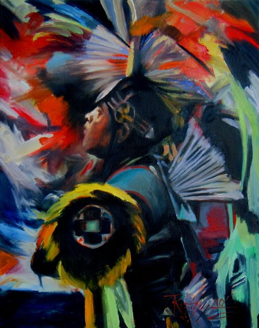 """Grand Entry Yakima Pow Wow dancer, oil painting"" original fine art by Robin Weiss"