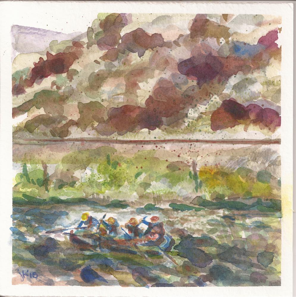 """Arkansas River Rafting"" original fine art by Jean Krueger"