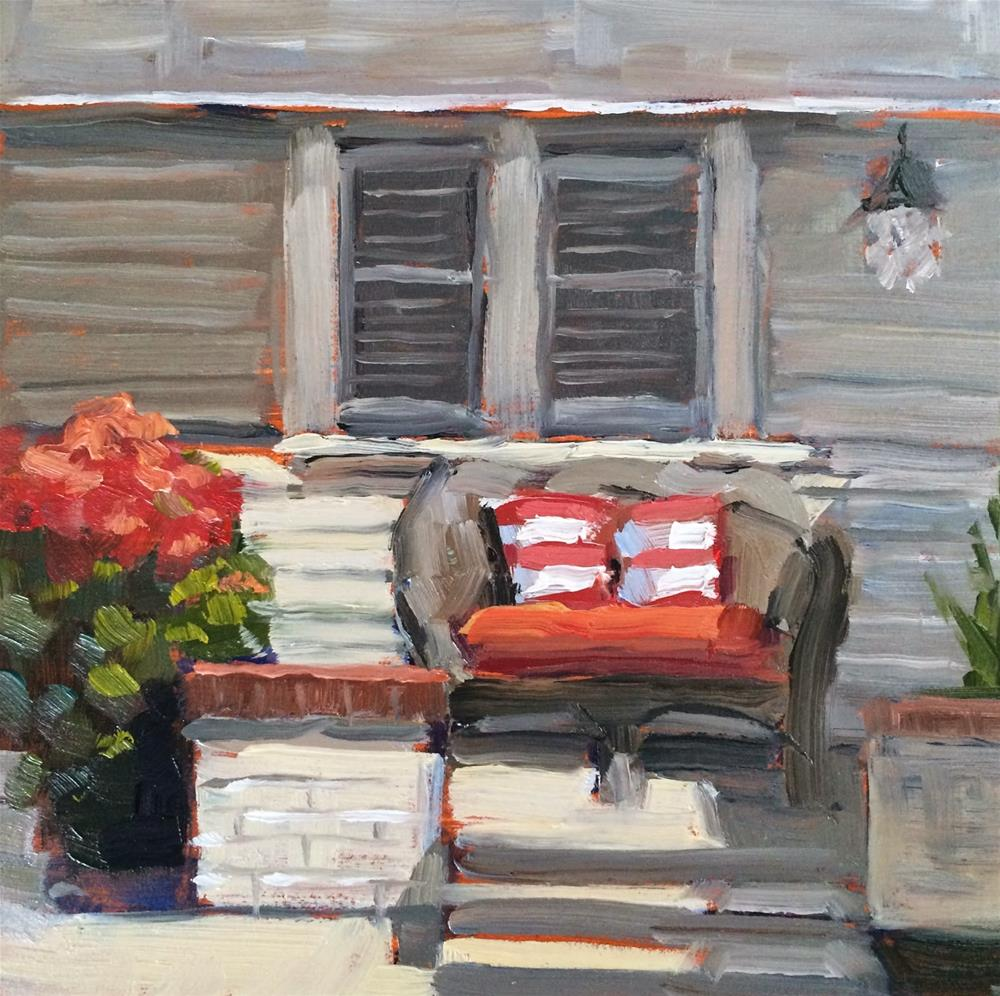"""Red Sofa"" original fine art by Deborah Newman"