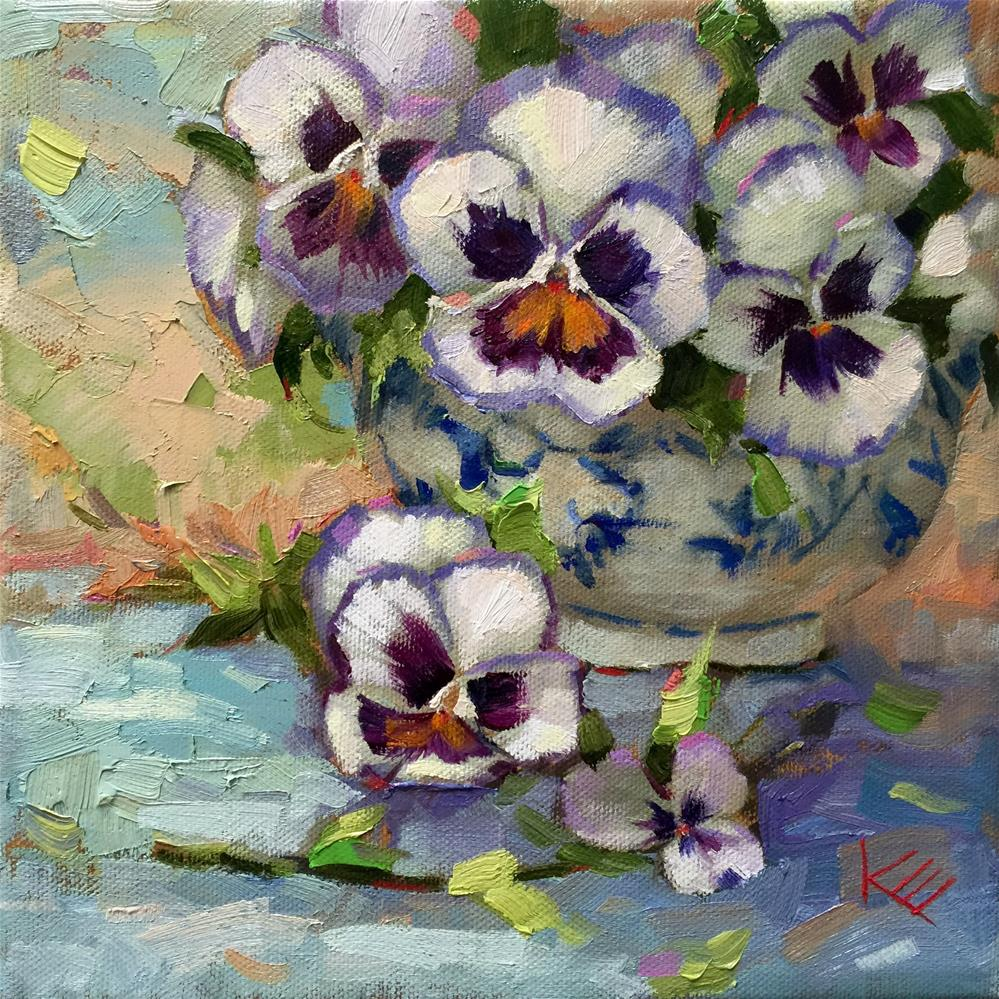 """Pansies in Blue & White Vase"" original fine art by Krista Eaton"