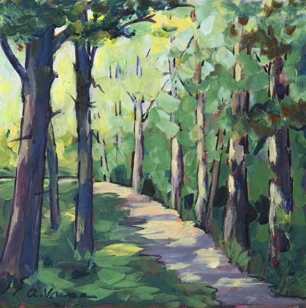 """Sun-Dappled Path"" original fine art by Anna Vreman"