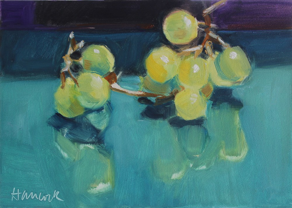 """Yellow Green Grapes on Teal and Purple"" original fine art by Gretchen Hancock"