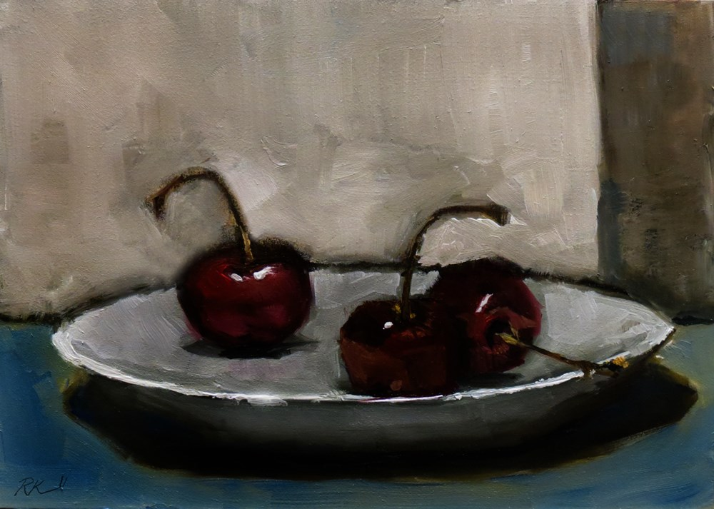 """Three Cherries"" original fine art by Bob Kimball"