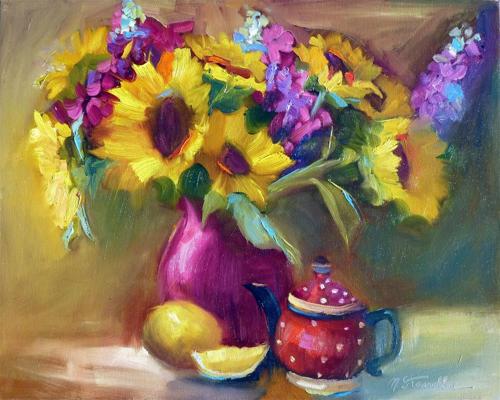 """Sunflowers and Teapot 13060"" original fine art by Nancy Standlee"