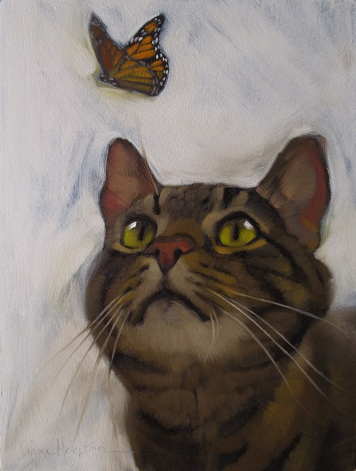 """Cat and Butterfly II original oil painting by Hoeptner"" original fine art by Diane Hoeptner"