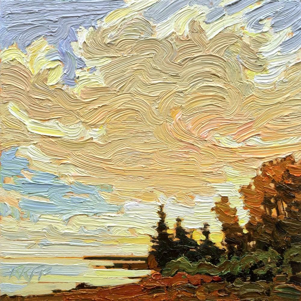 """""""Evening Air: 6x6 oil on panel"""" original fine art by Ken Faulks"""