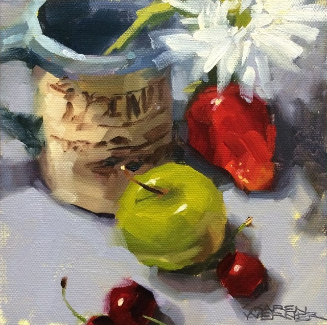"""Fruit, Flower & Mug"" original fine art by Karen Werner"