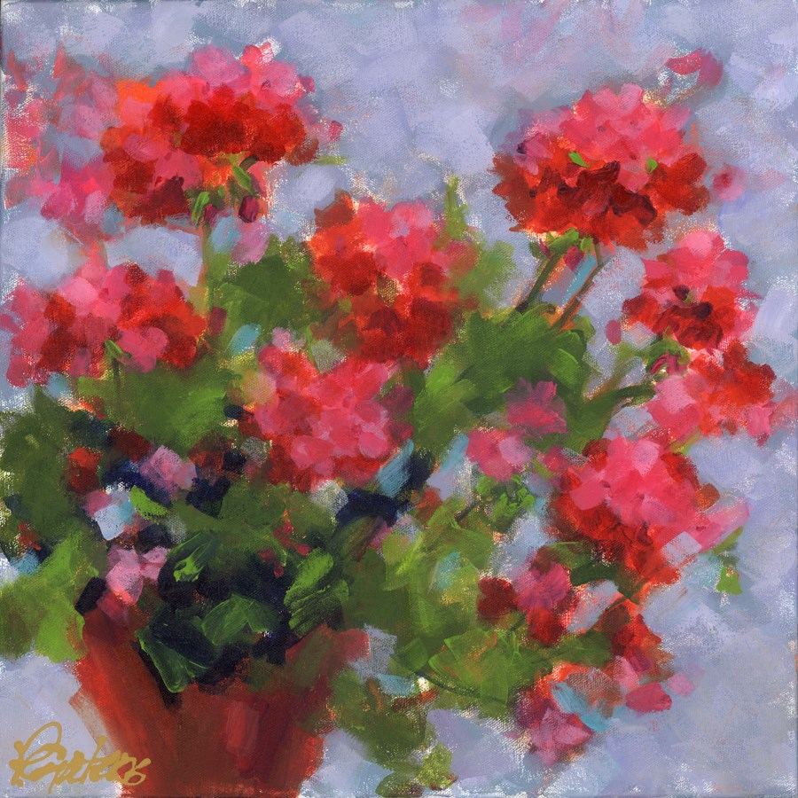 """Gen's Geraniums"" original fine art by Pamela Gatens"