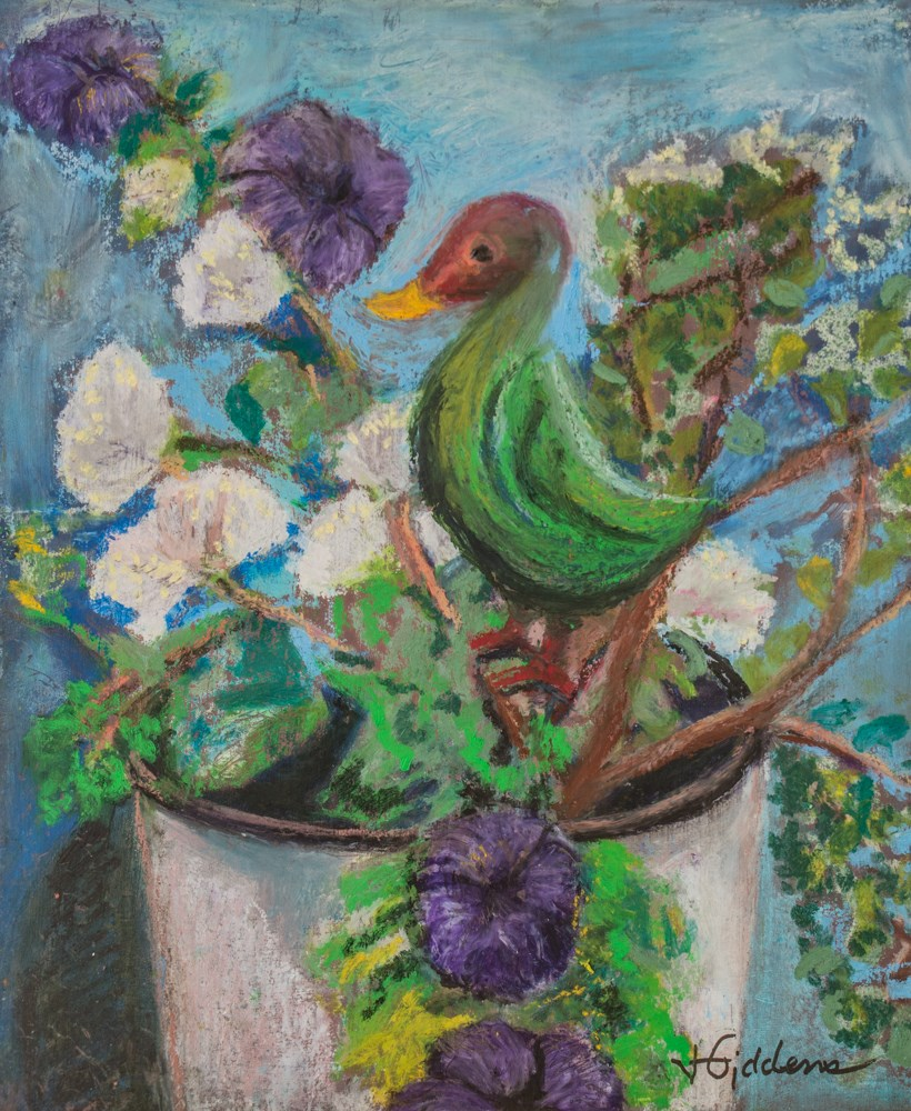 """Potted Petunia, Besotted Bird"" original fine art by Jeri Giddens"