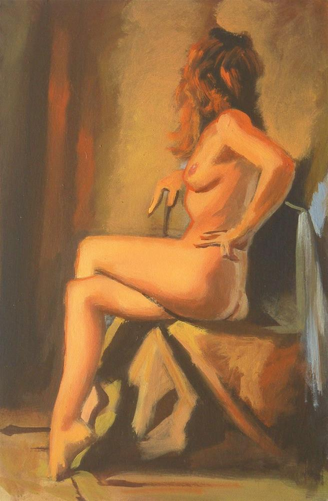 """Seated nude"" original fine art by Peter Orrock"