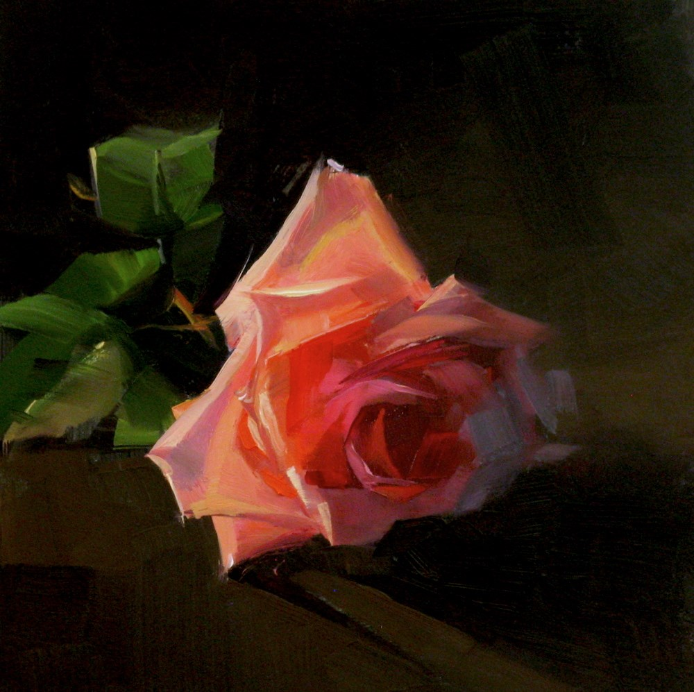 """Pink Rose Study 9"" original fine art by Qiang Huang"