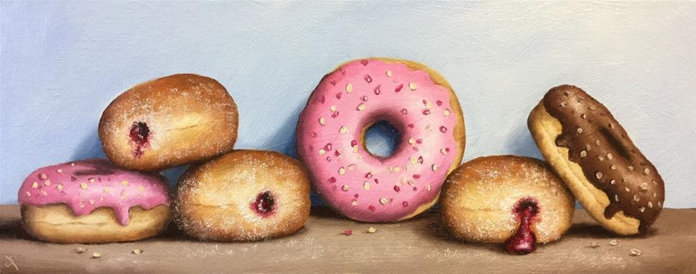 """""""Half dozen donuts"""" original fine art by Jane Palmer"""