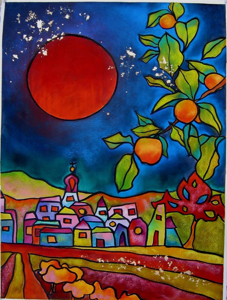 """Red Moon"" original fine art by Anne Ducrot"