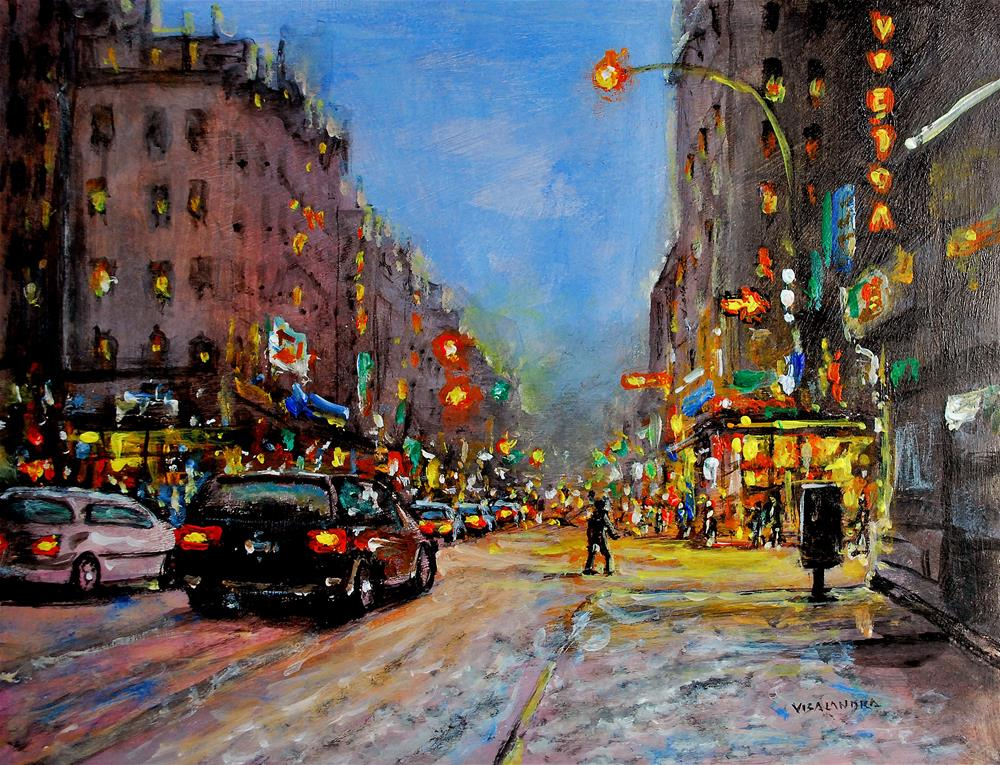 """New York in night8"" original fine art by vishalandra dakur"