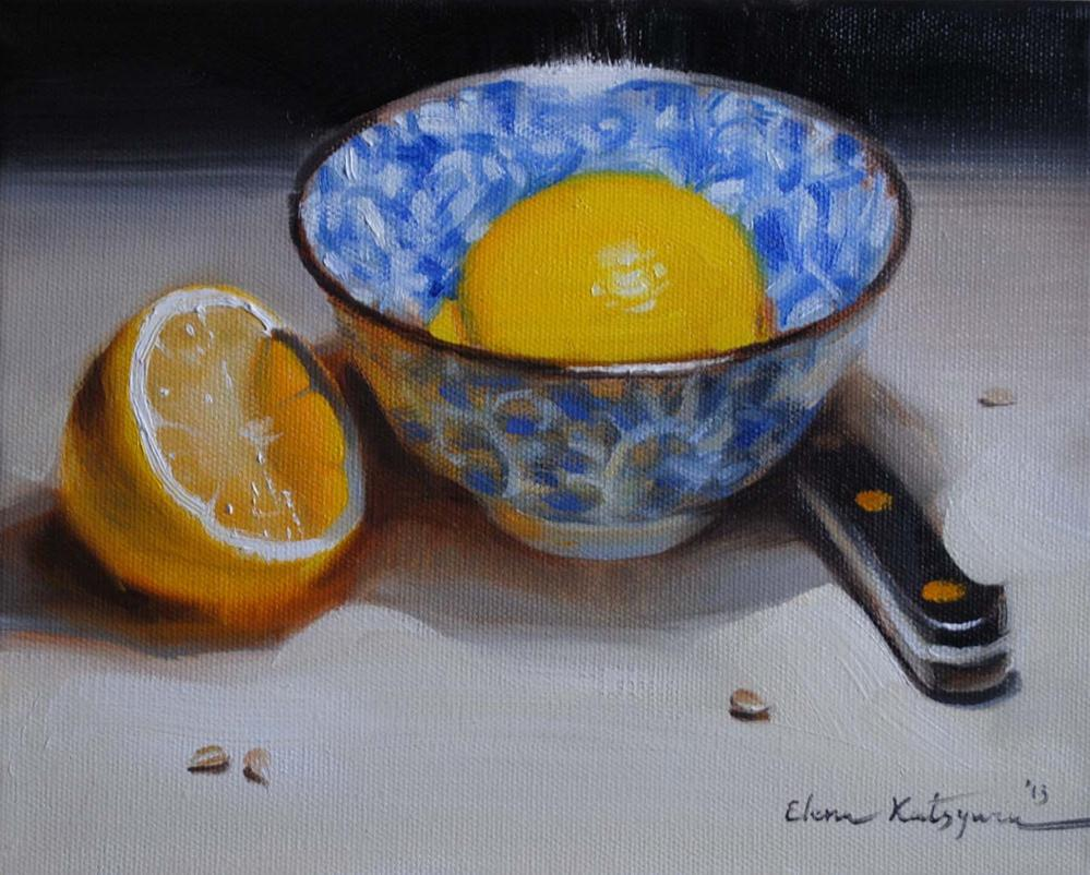 """Two Lemons and A Bowl"" original fine art by Elena Katsyura"