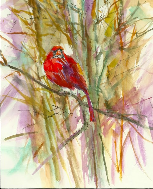 """""""Winter Cocoon 8x10 watercolor on Arches. My favorite sight in winter is the magnificent cardinal and his golden mate against the snowy landscape."""" original fine art by Mary Sheehan Winn"""