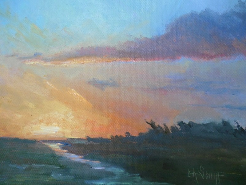 """Small Sunset Painting, Daily Painting, Small Oil Painting, Marsh Sunset , 8x10x1.5 Oil on Gallery"" original fine art by Carol Schiff"