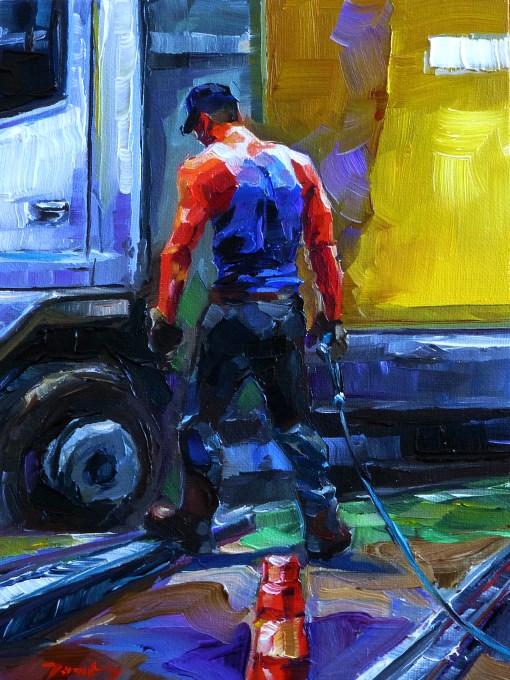 """""""workers"""" original fine art by Jurij Frey"""