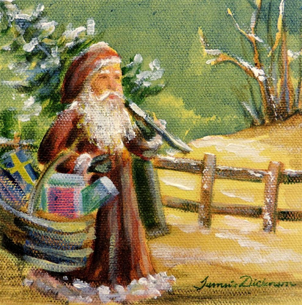 """Santa by the Fence"" original fine art by Tammie Dickerson"