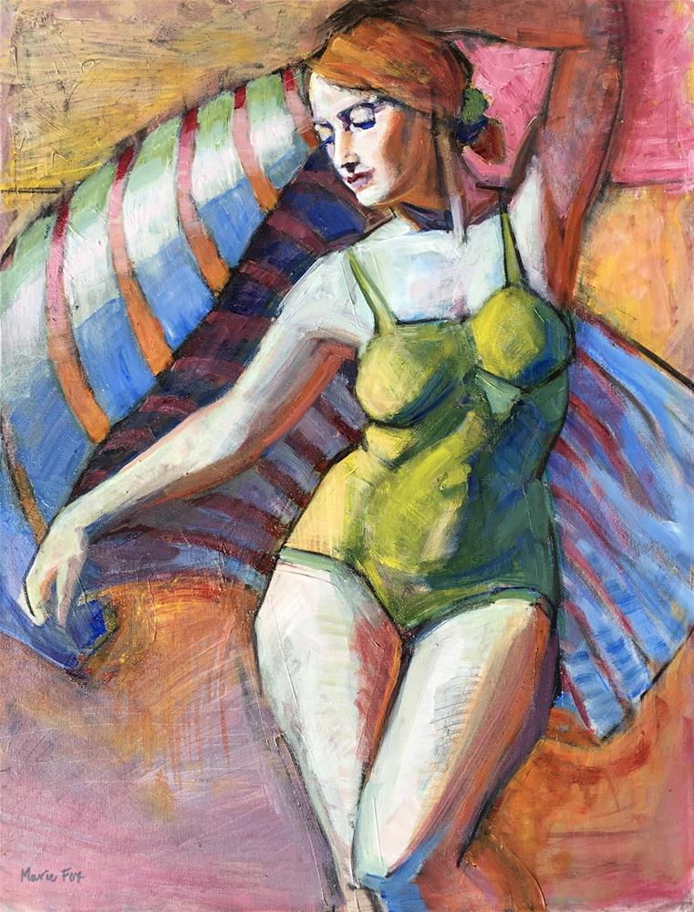 """Time To Go 3, figurative painting woman at beach, ocean, summer, figure study, female figuration, sw"" original fine art by Marie Fox"