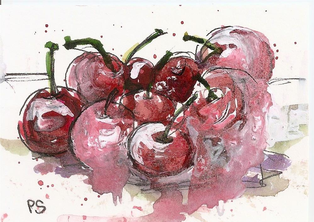 """ACEO Cherries Still Life Loose Watercolor Style Pen + Ink Penny Lee StewArt"" original fine art by Penny Lee StewArt"