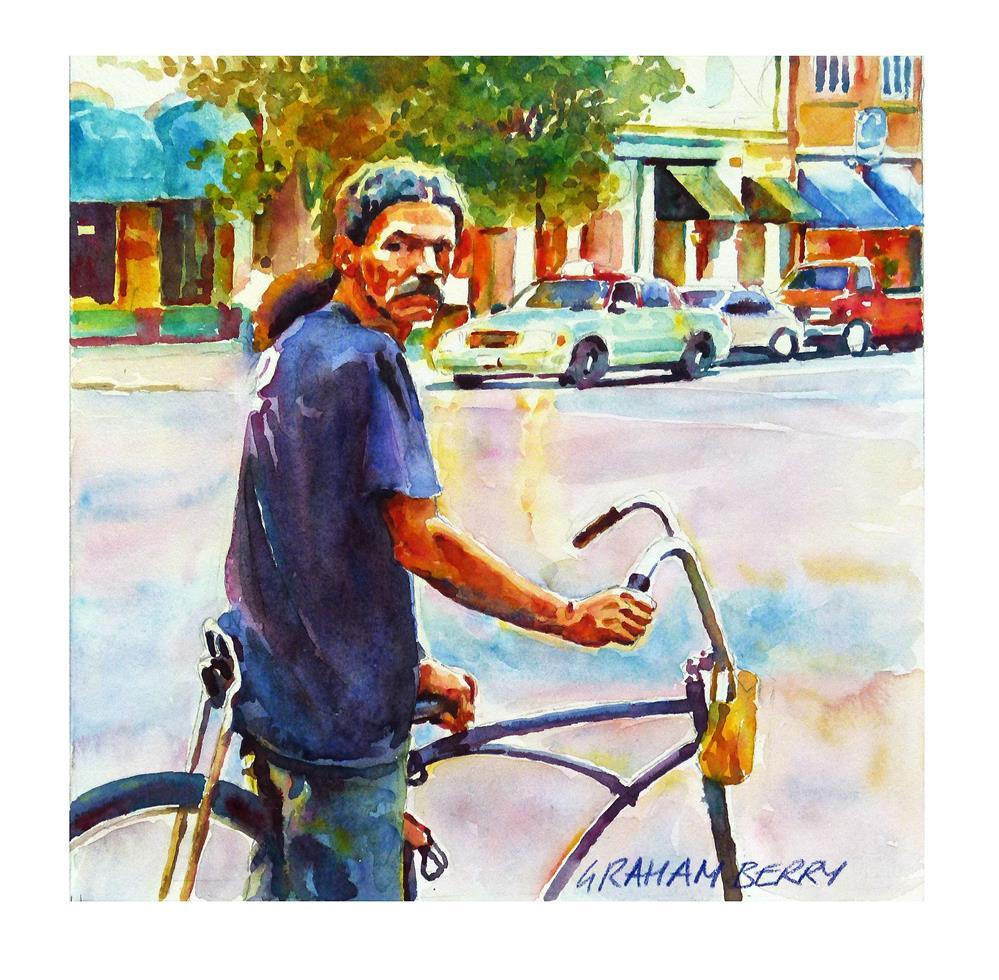 """Bikeman."" original fine art by Graham Berry"