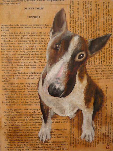 """""""Bull's-Eye - Oliver Twist (Dogs of Literature, No 4)"""" original fine art by Karen Robinson"""