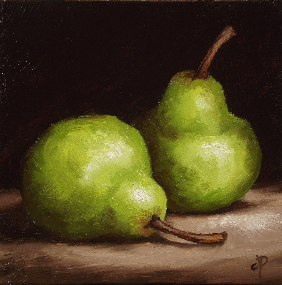 """Pair of Pears #9"" original fine art by Jane Palmer"