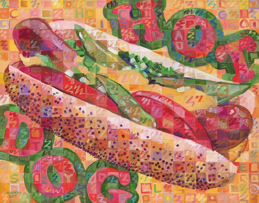 """Hot Dog (Chicago Style)"" original fine art by Randal Huiskens"